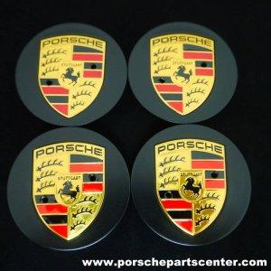 画像1: 【PORSCHE】ポルシェマカン65mmカラークレストマットブラックセンターキャップセット